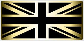 Noir BRITANNIQUE de drapeau et plaine d'or illustration stock