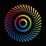 Noir coloré d'arc-en-ciel de roue de modèle circulaire illustration stock