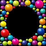 Noir coloré de cadre de fond de boules illustration de vecteur