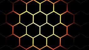 Noir d'hexagone de résumé et fond du feu illustration stock