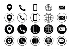 Noir d'icônes de l'information de contact de carte de visite professionnelle de visite de vecteur illustration stock