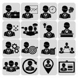 Noir d'icônes d'affaires et de gestion Photo libre de droits