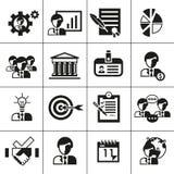 Noir d'icônes de gestion d'entreprise Photos stock