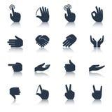 Noir d'icônes de main illustration stock