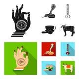 Noir d'Inde de pays, icônes plates dans la collection d'ensemble pour la conception L'Inde et le point de repère dirigent l'illus Photos stock