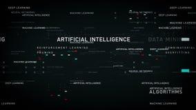 Noir d'intelligence artificielle de mots-clés illustration stock