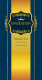 Noir de carte d'invitation et style d'or Images stock
