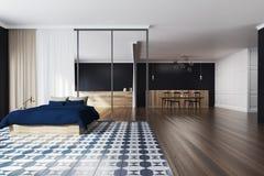 Noir de chambre à coucher à carreaux de plancher et de salle à manger Images stock