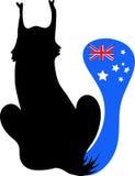 Noir de chat avec l'arrière dans l'indicateur Australie de forme illustration de vecteur