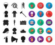 Noir de corps de sapeurs-pompiers, icônes plates dans la collection réglée pour la conception Sapeurs-pompiers et Web d'actions d illustration de vecteur