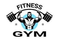 Noir de Logo With Athletic Man Training de gymnase de forme physique sur le fond blanc illustration stock