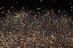 Noir de nouvelle année de Noël et fond de scintillement d'or Tissu abstrait de texture de vacances Photo libre de droits