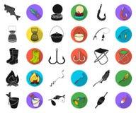 Noir de pêche et de repos, icônes plates dans la collection réglée pour la conception Attirail pour pêcher l'illustration de Web  illustration stock