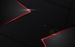 Noir de résumé avec le fond rouge de concept de technologie de conception de disposition de calibre de cadre illustration stock