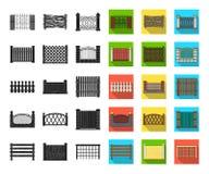 Noir différent de barrière, icônes plates dans la collection réglée pour la conception Illustration de clôture décorative de Web  illustration stock