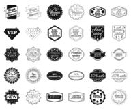 Noir différent de label, icônes d'ensemble dans la collection réglée pour la conception L'index et la marque dirigent l'illustrat illustration de vecteur