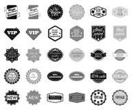 Noir différent de label, icônes monochromes dans la collection réglée pour la conception Indexez et Web d'actions de symbole de v illustration libre de droits