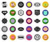 Noir différent de label, icônes plates dans la collection réglée pour la conception L'index et la marque dirigent l'illustration  illustration stock