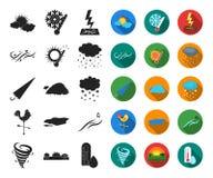 Noir différent de temps, icônes plates dans la collection réglée pour la conception Les signes et les caractéristiques du temps d illustration libre de droits