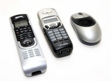 Noir et électronique à la maison d'argent Image libre de droits