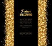Noir et bannière d'or, saluant le design de carte Photographie stock