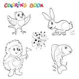 Noir et blanc animaux collection, vous de dessins de schéma pouvez employer comme livre de coloriage pour des adultes Livre de co Image libre de droits
