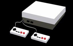 Noir et blanc avec une console volumétrique rectangulaire de jeu d'antiquité de vintage de vieux rétro hippie gris avec deux joie illustration stock