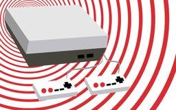 Noir et blanc avec une console volumétrique rectangulaire de jeu d'antiquité de vintage de vieux rétro hippie gris avec deux joie illustration de vecteur