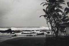Noir et blanc d'un roulement d'ouragan dedans à la côte de Yilan, Taïwan image stock