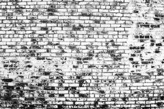 Noir et blanc du vieux mur de briques de vintage photographie stock libre de droits