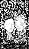Noir et blanc, fille et type sur le fond des feuilles Illustration Stock