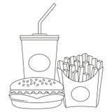 Noir et blanc hamburger de soude d'aliments de préparation rapide d'affiche de schéma fait frire Photos libres de droits