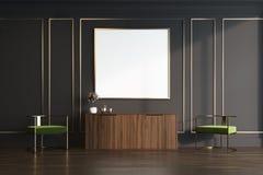 Noir et coffre de salon d'or d'affiche de tiroirs Photo libre de droits