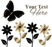 Noir et fleurs et papillon d'or Photos stock