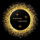 Noir et fond d'or avec le cadre de cercle et espace pour le texte Décoration de scintillement de vecteur, la poussière d'or illustration libre de droits