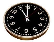 Noir et horloge d'or sur le blanc Photographie stock libre de droits