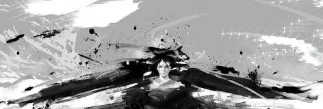 Noir et illustration abstraite détaillée numérique de petit morceau d'une femme avec les ailes noires photos stock