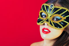 Noir et masque de mascarade d'or Image libre de droits