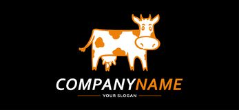 Noir et orange de Logo Cow Funny Illustration de vecteur Photos libres de droits