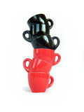 Noir et rouge met en forme de tasse la construction Photo libre de droits