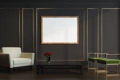 Noir et salon d'or, fauteuils, affiche illustration stock
