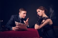 Free Noir Film Journalist And The Girl Stock Photography - 29559812