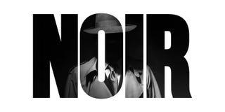 Noir film- och tappningkriminalaretecken arkivfoto