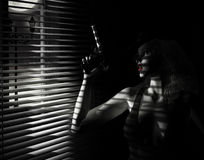 Noir flickafilm arkivbilder