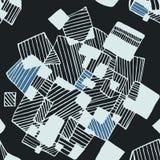 Noir géométrique abstrait sans couture et bleu de modèle Photos stock