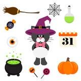 Noir mignon de chat de bande dessinée avec le lien et le chapeau et l'élément de Halloween Photos stock
