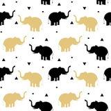 Noir mignon et illustration sans couture de fond de modèle d'éléphants d'or illustration de vecteur