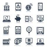 Noir mobile d'icônes d'opérations bancaires Images stock