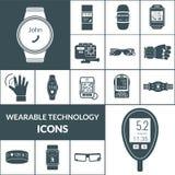 Noir portable d'icônes de technologies Photographie stock libre de droits