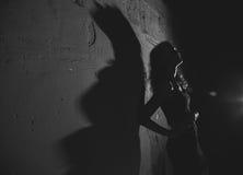 Noir   Porträt des attraktiven Brunettemädchens Stockfotos